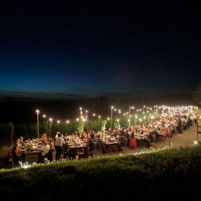 cena matrimonio luci toscana